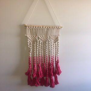 Macrame Boho Wall Hanging Art Pink